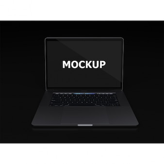 Preto laptop vista mockup frontal