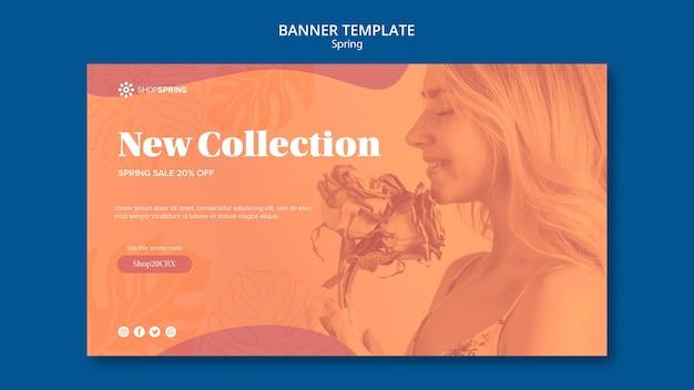 Primavera venda nova coleção banner modelo