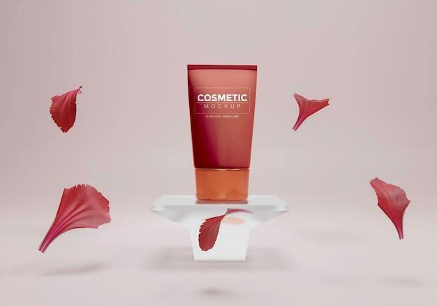 Produto cosmético em estande com pétalas