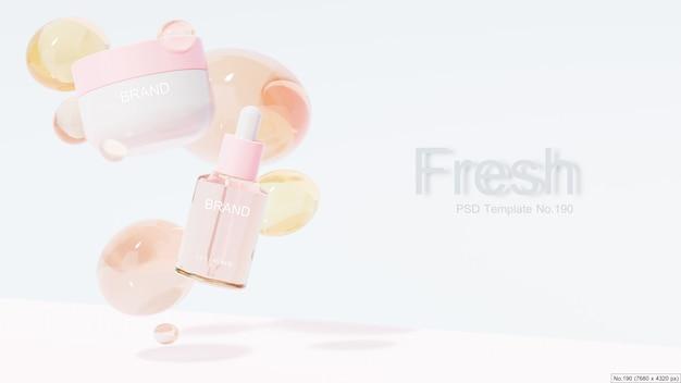 Produto de beleza com bolha de água-de-rosa. renderização 3d