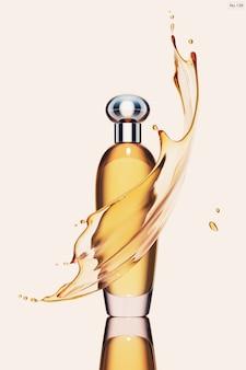 Produto de luxo com respingos de água amarela