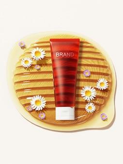 Produto de mel no favo de mel com flores