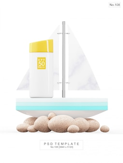 Produto de proteção solar uv com barco de brinquedo. renderização 3d