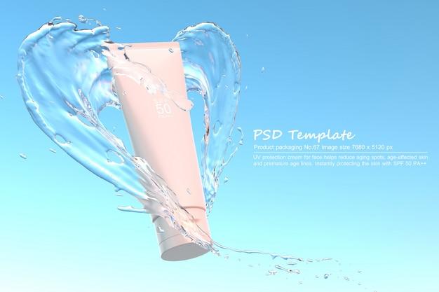 Produto de protetor solar uv com respingos de água no fundo azul 3d render