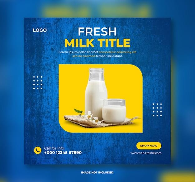 Produto lácteo ou laticínios nas redes sociais design de banner de postagem ou banner de postagem de instagram