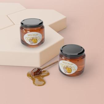 Produto natural de mel na mesa