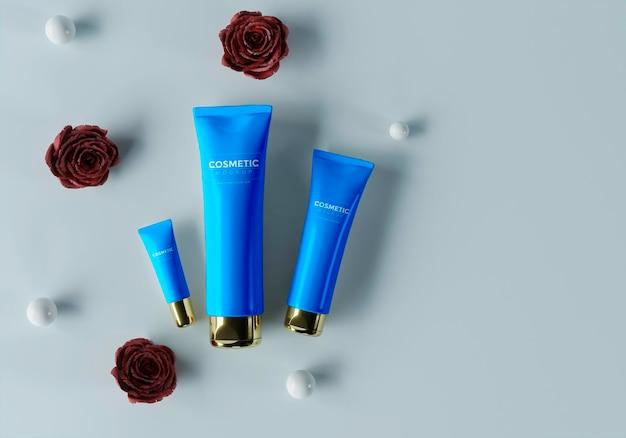 Produtos cosméticos com esferas e flores