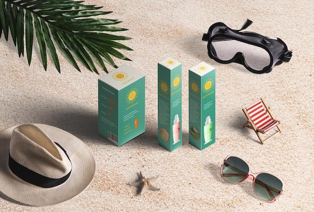 Produtos e elementos para férias de praia. proteção solar, óculos de sol, chapéu, cadeira, máscara de mergulho