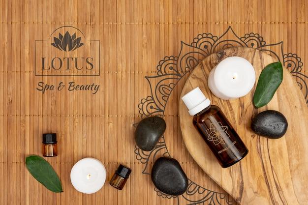 Produtos orgânicos oleosos para tratamentos no spa