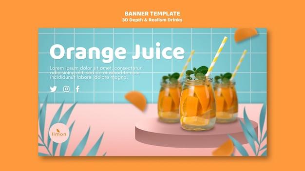 Profundidade 3d e realismo bebidas tema da página de destino
