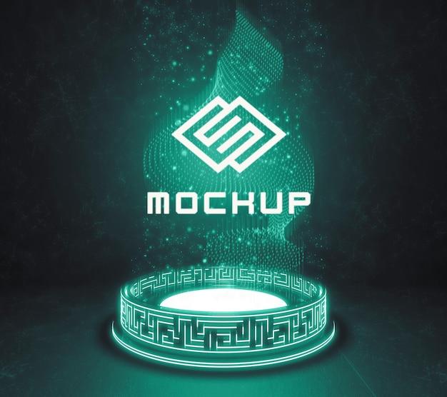 Projeção de efeito de logotipo futurista
