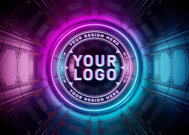 Projeção de logotipo em estilo neon em maquete subterrânea