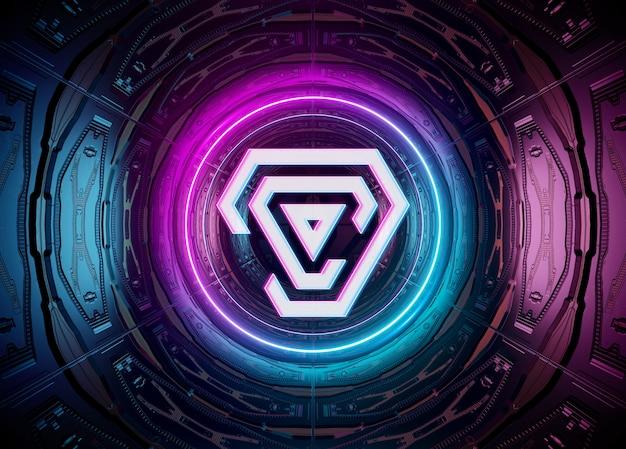 Projeção de logotipo estilo néon em maquete de túnel