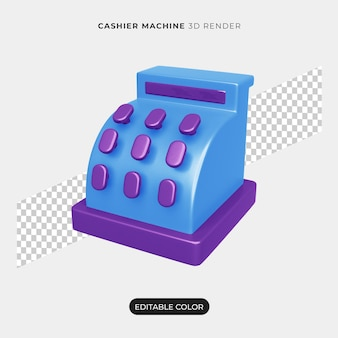 Projeto 3d do ícone da máquina de caixa isolado