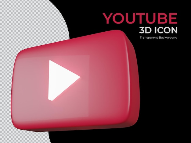 Projeto 3d renderizado do ícone de png do fundo transparente do youtube
