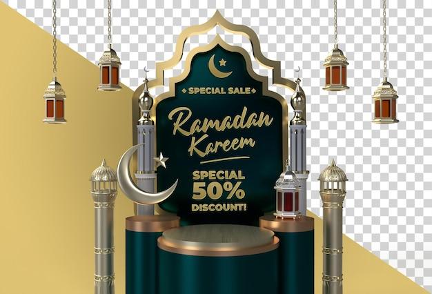 Projeto celebração islâmica 3d ramadan kareem eid mubarak