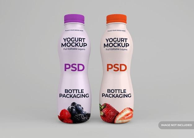 Projeto da embalagem da garrafa de iogurte isolado