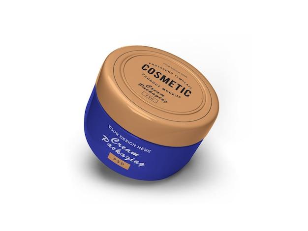 Projeto da maquete 3d do frasco cosmético de creme isolado