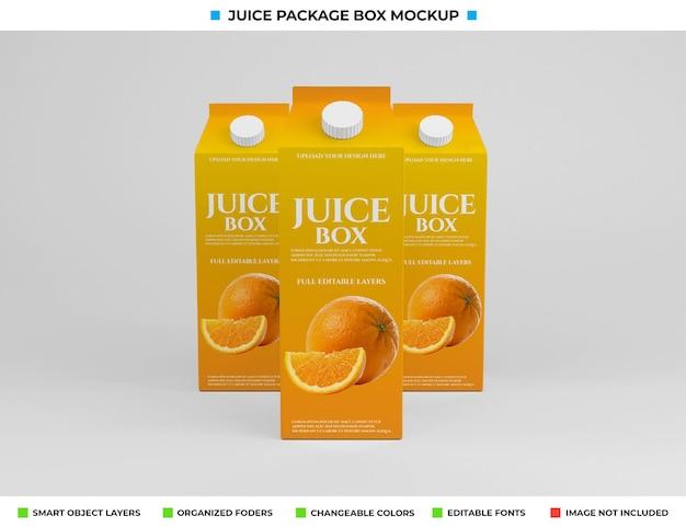 Projeto da maquete da embalagem da caixa de suco de papelão