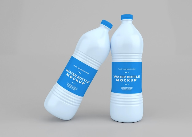 Projeto da maquete da garrafa de água em renderização 3d isolada