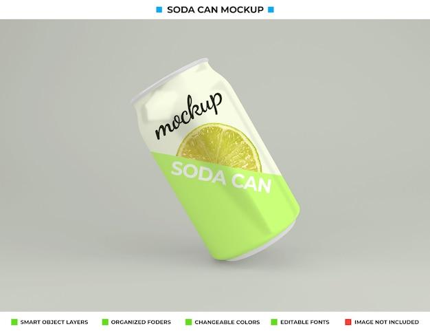 Projeto da maquete da lata de refrigerante no conceito de bebida