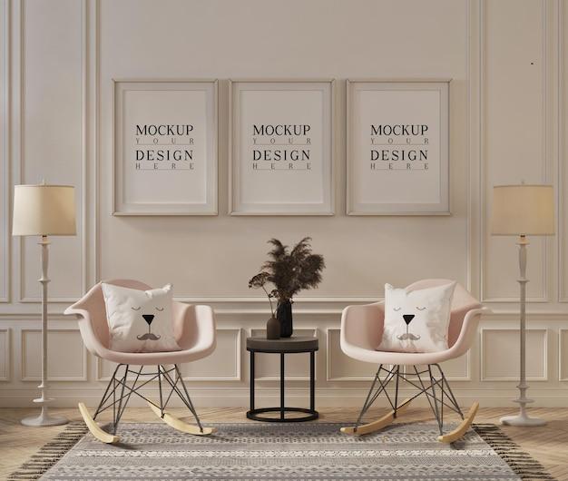 Projeto da maquete da moldura em uma sala de estar clássica moderna