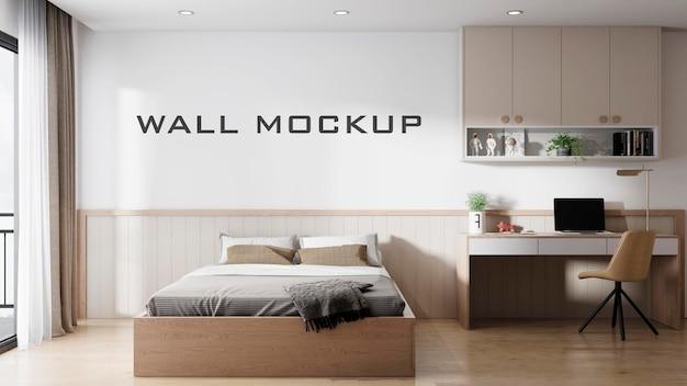 Projeto da maquete da parede do interior do quarto premium psd