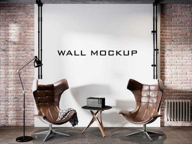 Projeto da maquete da parede interna do loft da sala de estar premium psd
