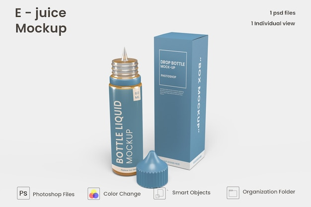 Projeto da maquete de garrafa de líquido vape isolado premium psd