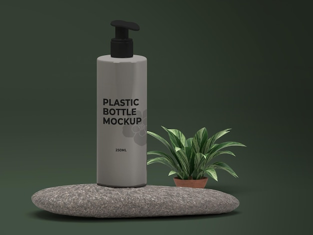 Projeto da maquete de garrafa plástica cosmética da natureza psd