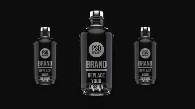 Projeto da maquete de renderização 3d de garrafa de vidro