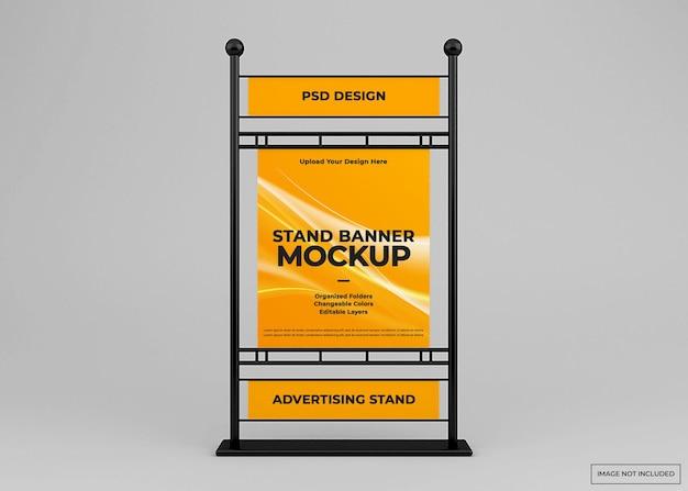 Projeto da maquete do banner do stand publicitário isolado
