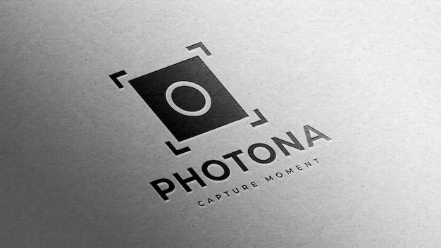 Projeto da maquete do logotipo da fotografia em papel branco