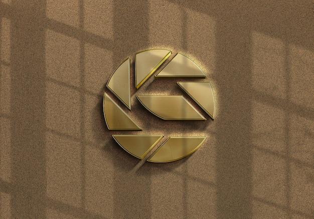 Projeto da maquete do logotipo dourado com sobreposição de sombras