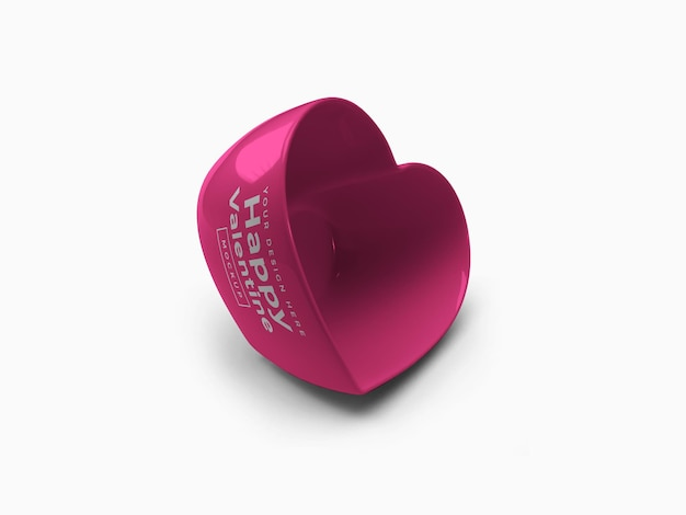 Projeto da maquete do recipiente do coração do amor dos namorados isolado