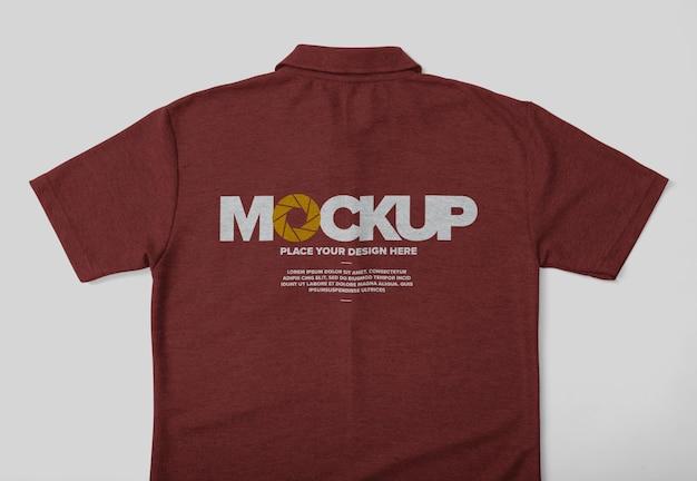 Projeto da maquete do verso da camisa pólo isolado com bolso