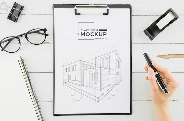 Projeto de arquitetura da vista superior com maquete
