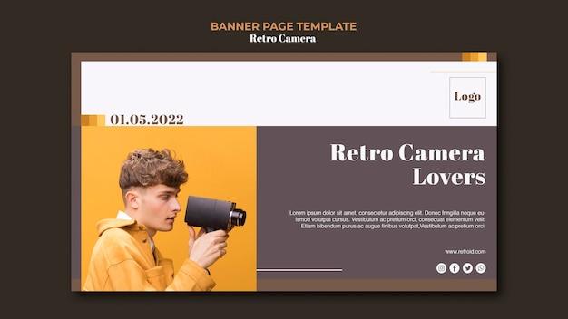 Projeto de banner de conceito de câmera retrô