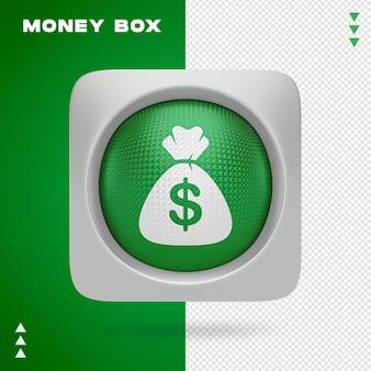 Projeto de caixa de dinheiro em renderização 3d