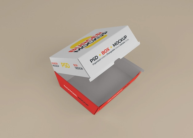 Projeto de embalagem de caixa de hambúrguer aberto isolado