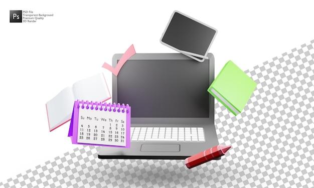 Projeto de ilustração 3d do laptop em fundo branco