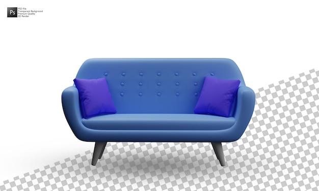 Projeto de ilustração 3d isolado sofá azul