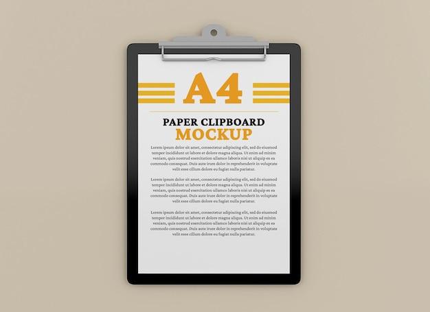 Projeto de maquete de área de transferência de documento a4 isolado