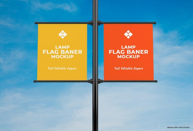 Projeto de maquete de bandeira de banner de lâmpada publicitária