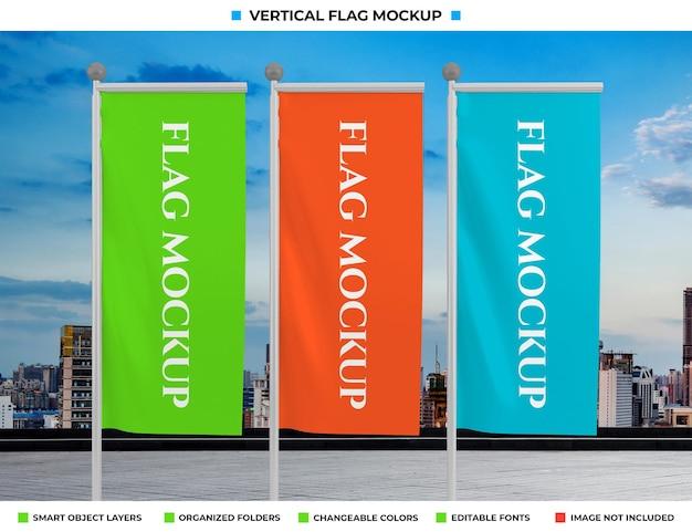 Projeto de maquete de bandeira vertical de onda realista