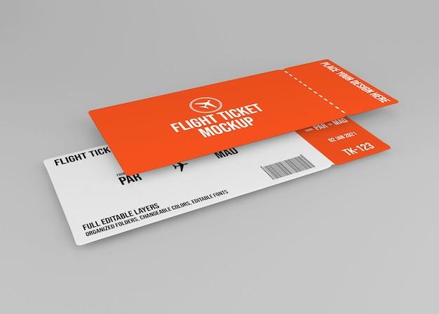 Projeto de maquete de bilhete de avião realista isolado