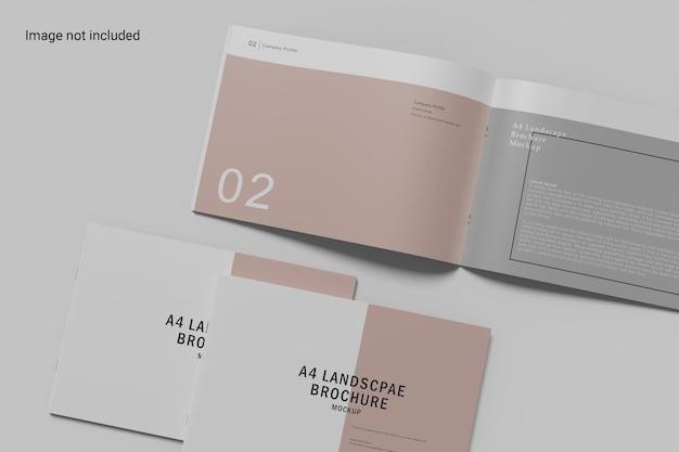 Projeto de maquete de brochura com paisagem aberta e fechada