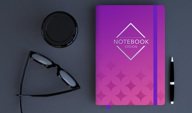 Projeto de maquete de caderno branco em renderização 3d