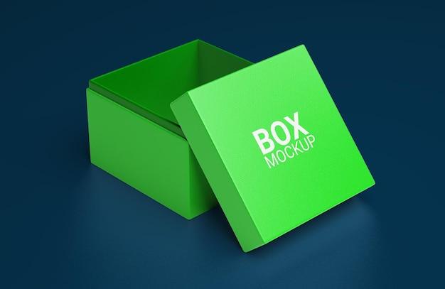 Projeto de maquete de caixa quadrada simples aberta