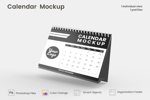 Projeto de maquete de calendário de mesa em espiral